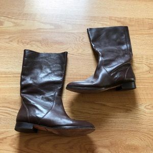 J.crew leather boots brown mid calf comfy cute-6